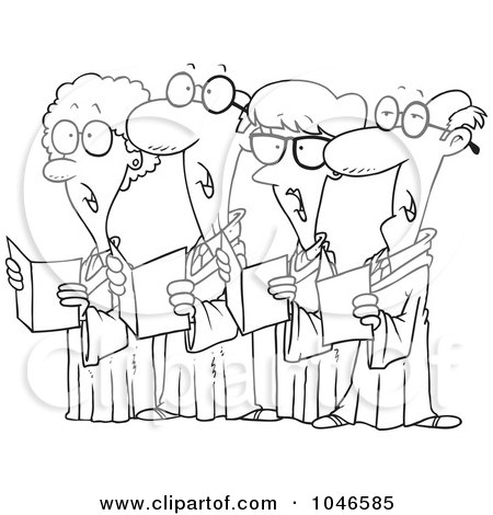 Royalty-Free (RF) Clip Art Illustration of a Cartoon Black And White Outline Design Of A Choir Of Seniors by toonaday