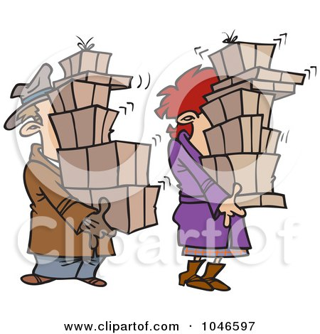 Royalty-Free (RF) Clip Art Illustration of a Cartoon Shaking Couple Carrying Packages by toonaday