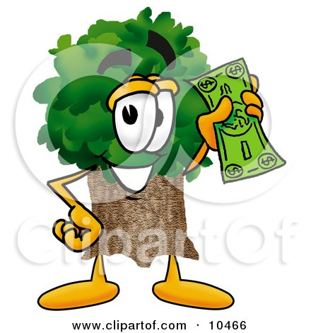 Tree Mascot Cartoon Character Holding a Dollar Bill Posters, Art Prints