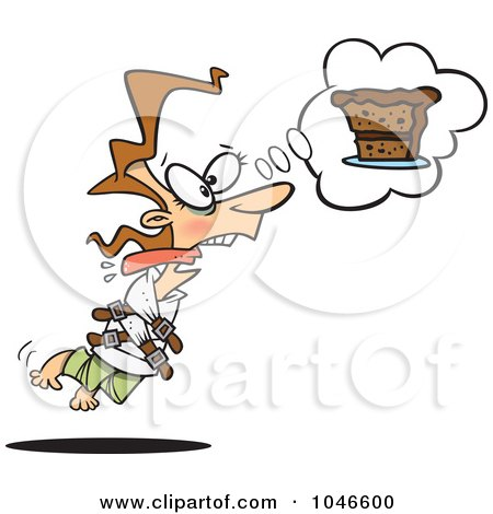 Royalty-Free (RF) Clip Art Illustration of a Cartoon Restrained Woman Craving Cake by toonaday