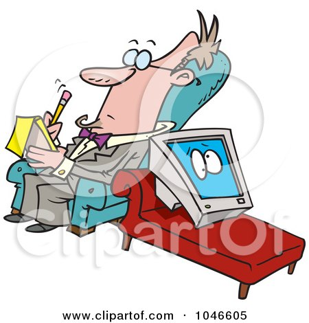 Royalty-Free (RF) Clip Art Illustration of a Cartoon Computer In Therapy by toonaday
