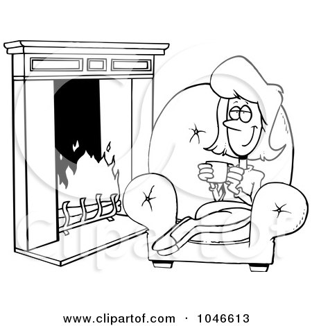 drinks by fireplace clipart