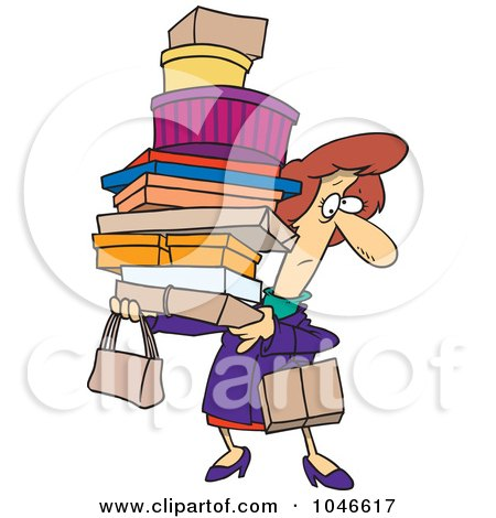 Royalty-Free (RF) Clip Art Illustration of a Cartoon Shopping Woman Carrying Packages by toonaday
