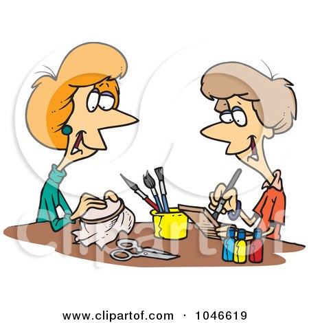 Royalty-Free (RF) Clip Art Illustration of Cartoon Women Doing Crafts by toonaday
