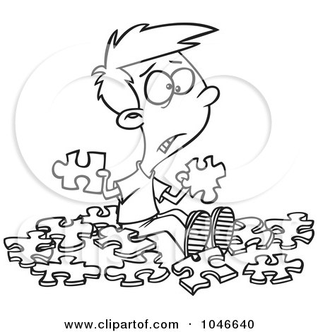 Royalty-Free (RF) Clip Art Illustration of a Cartoon Black And White Outline Design Of A Confused Boy With Similar Puzzle Pieces by toonaday