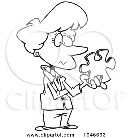 Royalty-Free (RF) Clip Art Illustration of a Cartoon Black And White Outline Design Of A Businesswoman Holding A Puzzle Piece by toonaday