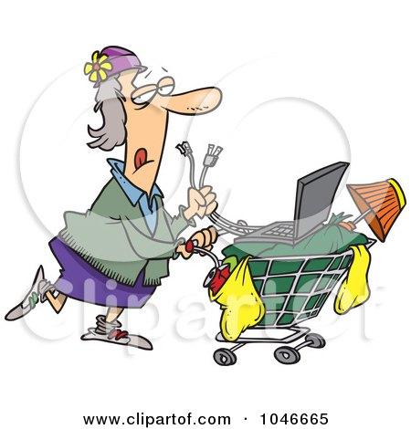 Cartoon Homeless Woman Pushing A Laptop On Her Cart Posters, Art Prints