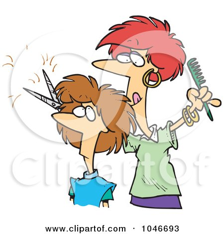 Cartoon Of A Boy Cutting His Own Hair Royalty Free Vector Clipart By Toonaday 1122061