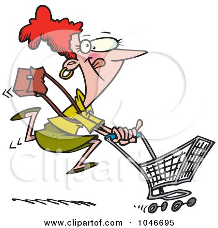 Clipart Frazzled Black Friday Shopper Woman - Royalty Free ...