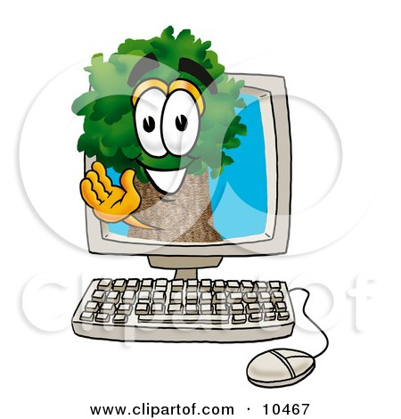 Clipart Picture of a Tree Mascot Cartoon Character Waving From Inside a Computer Screen by Toons4Biz