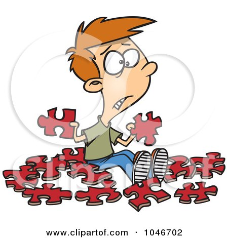 Royalty-Free (RF) Clip Art Illustration of a Cartoon Confused Boy With Similar Puzzle Pieces by toonaday