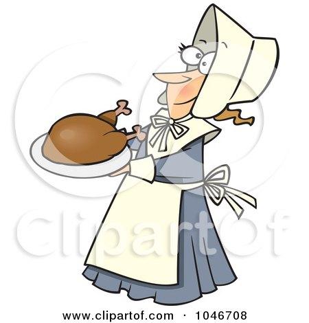 Royalty-Free (RF) Clip Art Illustration of a Cartoon Lady Pilgrim Serving A Turkey by toonaday