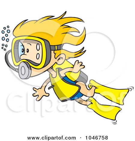 Cartoon Scuba Girl Swimming Posters, Art Prints by Ron Leishman ...