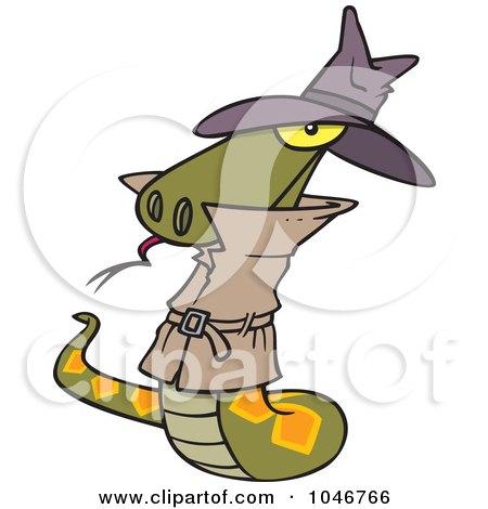 Royalty-Free (RF) Clip Art Illustration of a Cartoon Spy Serpent by toonaday