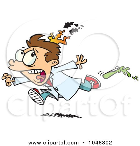 Royalty-Free (RF) Clip Art Illustration of a Cartoon Boy On Fire During A Science Experiment by toonaday