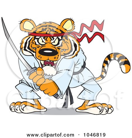 Royalty-Free (RF) Clip Art Illustration of a Cartoon Samurai Tiger With A Sword by toonaday