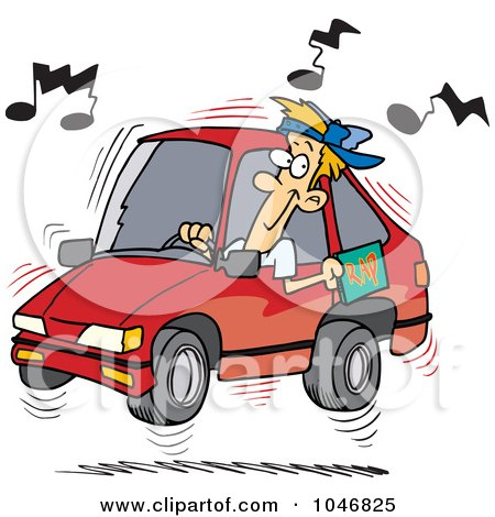 Royalty-Free (RF) Clip Art Illustration of a Cartoon Man Blaring Rap Music In His Car by toonaday