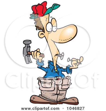 Royalty-Free (RF) Clip Art Illustration of a Cartoon Carpenter Holding Nails In His Teeth by toonaday