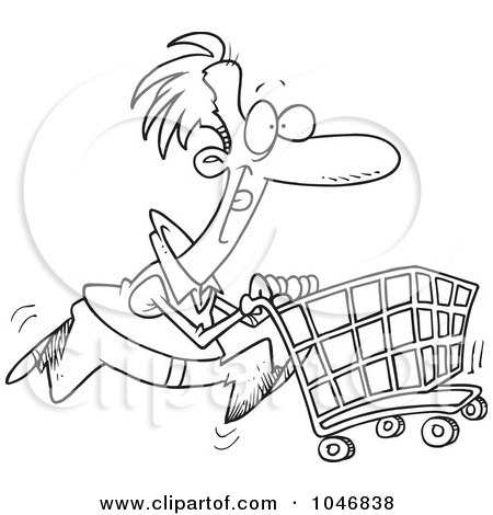 Vector of a Cartoon Man Pushing a Shopping Cart While Running by toonaday -  #25275