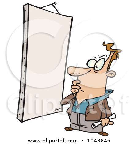 Royalty-Free (RF) Clip Art Illustration of a Cartoon Man Staring At A Blank Canvas by toonaday