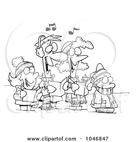 Royalty-Free (RF) Clip Art Illustration of a Cartoon Black And White Outline Design Of A Family Singing Christmas Carols by toonaday