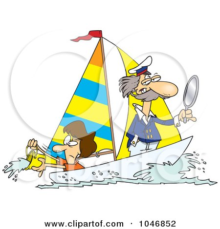 Royalty-Free (RF) Clip Art Illustration of a Cartoon Woman Scooping Buckets Of Water Out Of A Sailboat by toonaday