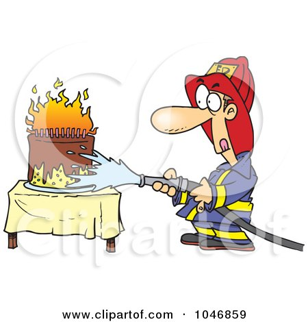 Royalty-free clipart picture of a fireman extinguishing a birthday cake,