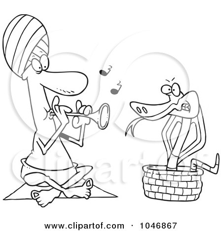 Royalty-Free (RF) Clip Art Illustration of a Cartoon Black And White Outline Design Of A Snake Charmer by toonaday