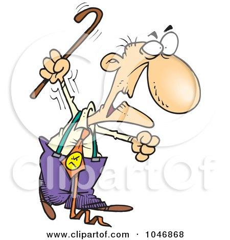 Cartoon Grumpy Old Man Waving His Cane Posters, Art Prints
