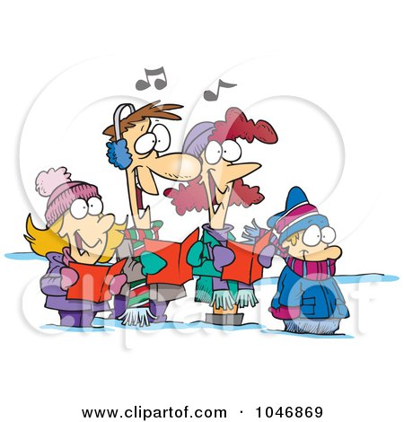 Royalty-Free (RF) Clip Art Illustration of a Cartoon Family Singing Christmas Carols by toonaday