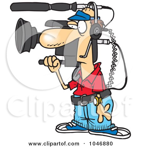 Royalty-Free (RF) Clip Art Illustration of a Cartoon Working Camera Man by toonaday