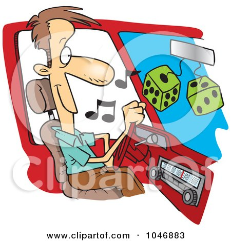 Royalty-Free (RF) Clip Art Illustration of a Cartoon Man Listing To Tunes In His Car by toonaday