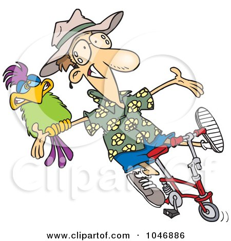 Royalty-Free (RF) Clip Art Illustration of a Cartoon Carefree Man On A Bike With A Parrot by toonaday