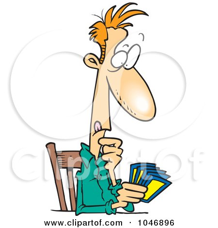 Royalty-Free (RF) Clip Art Illustration of a Cartoon Man Holding A Hand Of Cards by toonaday