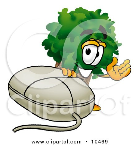 Clipart Picture of a Tree Mascot Cartoon Character With a Computer Mouse by Toons4Biz