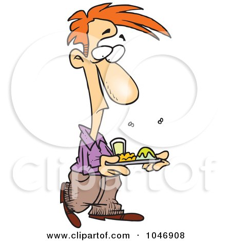 Royalty-Free (RF) Clip Art Illustration of a Cartoon Man With Stinky Cafeteria Food by toonaday