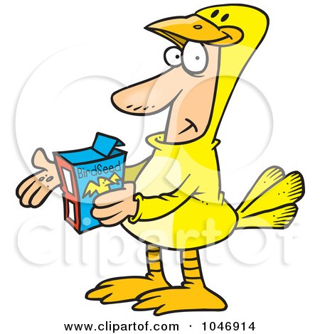 Royalty-Free (RF) Clip Art Illustration of a Cartoon Man In A Canary Suit by toonaday