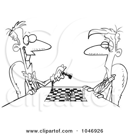 Royalty-Free (RF) Clip Art Illustration of a Cartoon Black And White Outline Design Of Men Playing Chess by toonaday