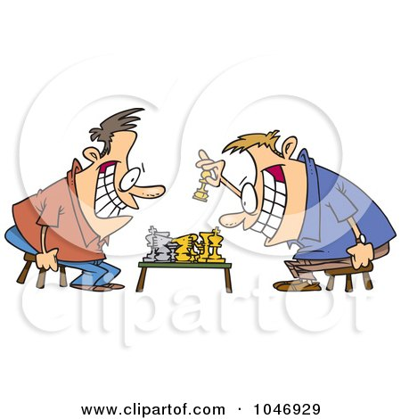 Royalty-Free (RF) Clip Art Illustration of Cartoon Guys Playing Chess by toonaday