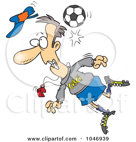 Royalty-Free (RF) Clip Art Illustration of a Cartoon Soccer Ball Hitting A Coach by toonaday