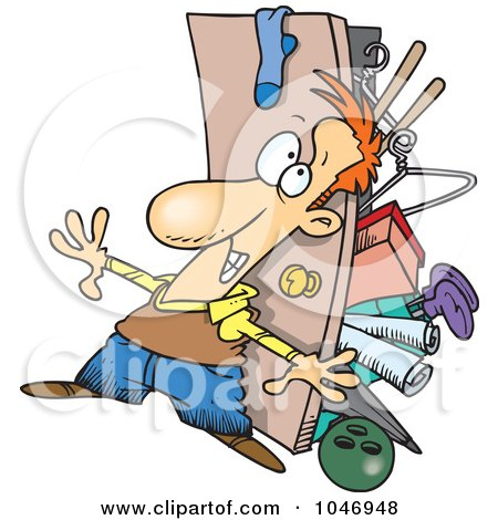 Royalty-Free (RF) Clip Art Illustration of a Cartoon Hoarder Man With A Full Closet by toonaday
