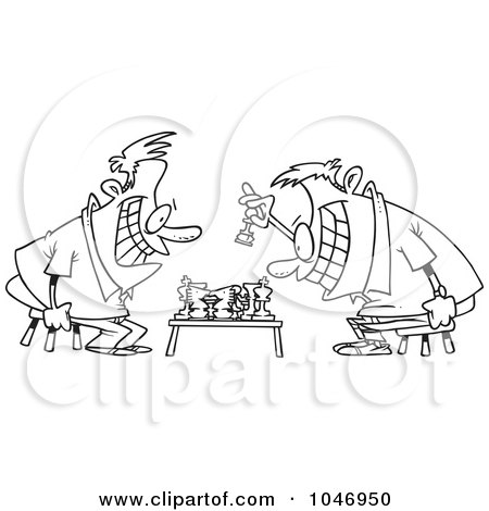 Royalty-Free (RF) Clip Art Illustration of a Cartoon Black And White Outline Design Of Guys Playing Chess by toonaday