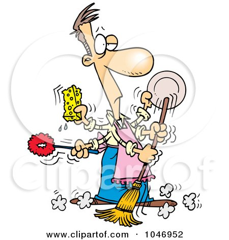 Royalty-Free (RF) Clip Art Illustration of a Cartoon Man Spring Cleaning by toonaday