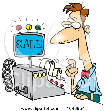 Royalty-Free (RF) Clip Art Illustration of a Cartoon Man Ringing In A Sale by toonaday