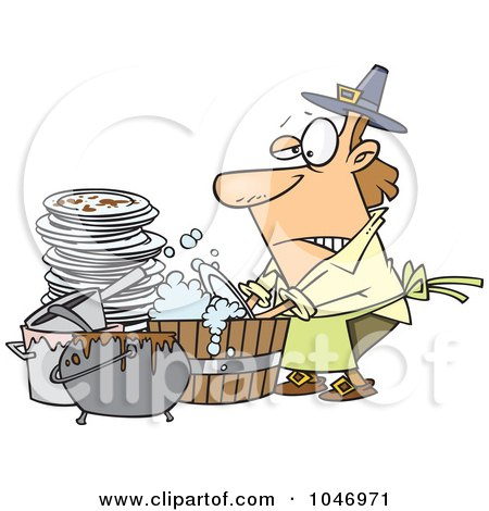 Royalty-Free (RF) Clip Art Illustration of a Cartoon Man Washing Dishes In A Barrel by toonaday