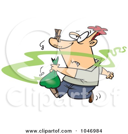 Royalty-Free (RF) Clip Art Illustration of a Cartoon Man Taking Out Smelly Garbage by toonaday