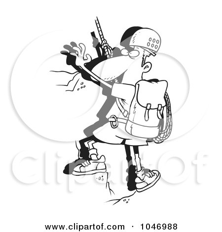 Royalty-Free (RF) Clip Art Illustration of a Cartoon Black And White Outline Design Of A Mountain Climber by toonaday