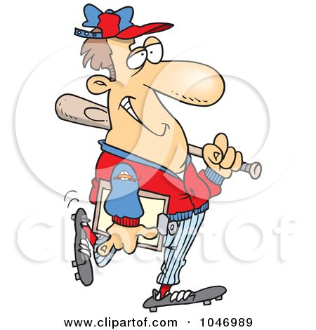 Royalty-Free (RF) Clip Art Illustration of a Cartoon Baseball Coach by toonaday