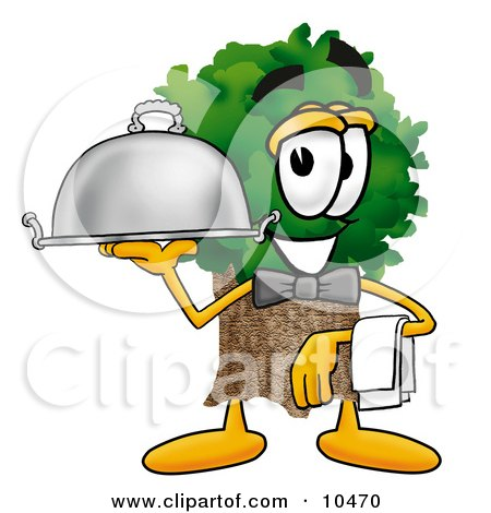 Tree Mascot Cartoon Character Dressed as a Waiter and Holding a Serving Platter Posters, Art Prints