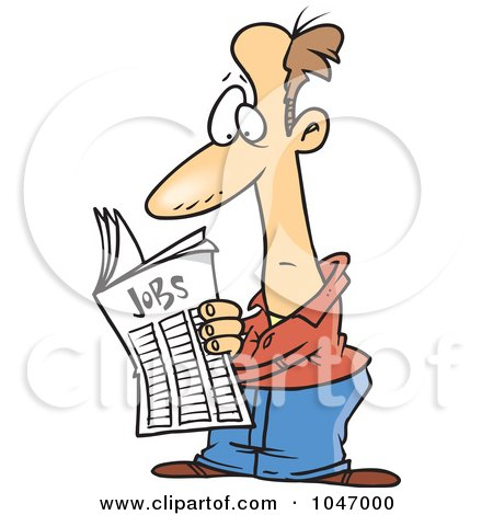 Royalty-Free (RF) Clip Art Illustration of a Cartoon Man Seeking For A Job In The Classifieds by toonaday